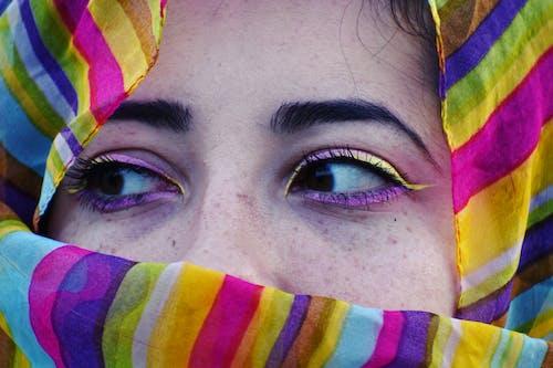 Woman Wearing Multicolored Striped Hijab