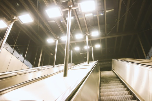 Free stock photo of lights, architecture, ceiling, escalator
