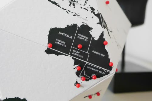 Free stock photo of australia, black and white, dots, map