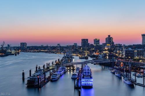 Ingyenes stockfotó Hamburg, kikötő, naplemente, Németország témában