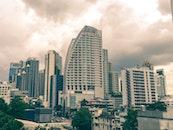 city, clouds, street