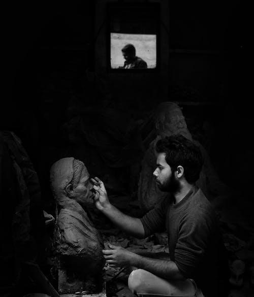 アート, おとこ, 人, 白黒の無料の写真素材
