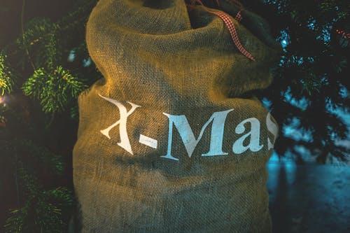 Brown and White X-mas-printed Sack