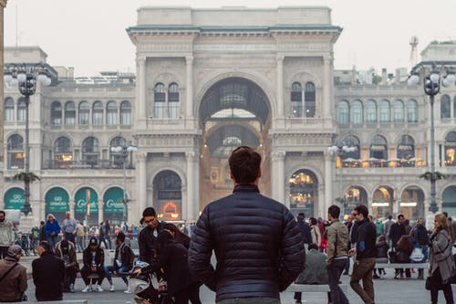 Man Standing in Downtown Milan
