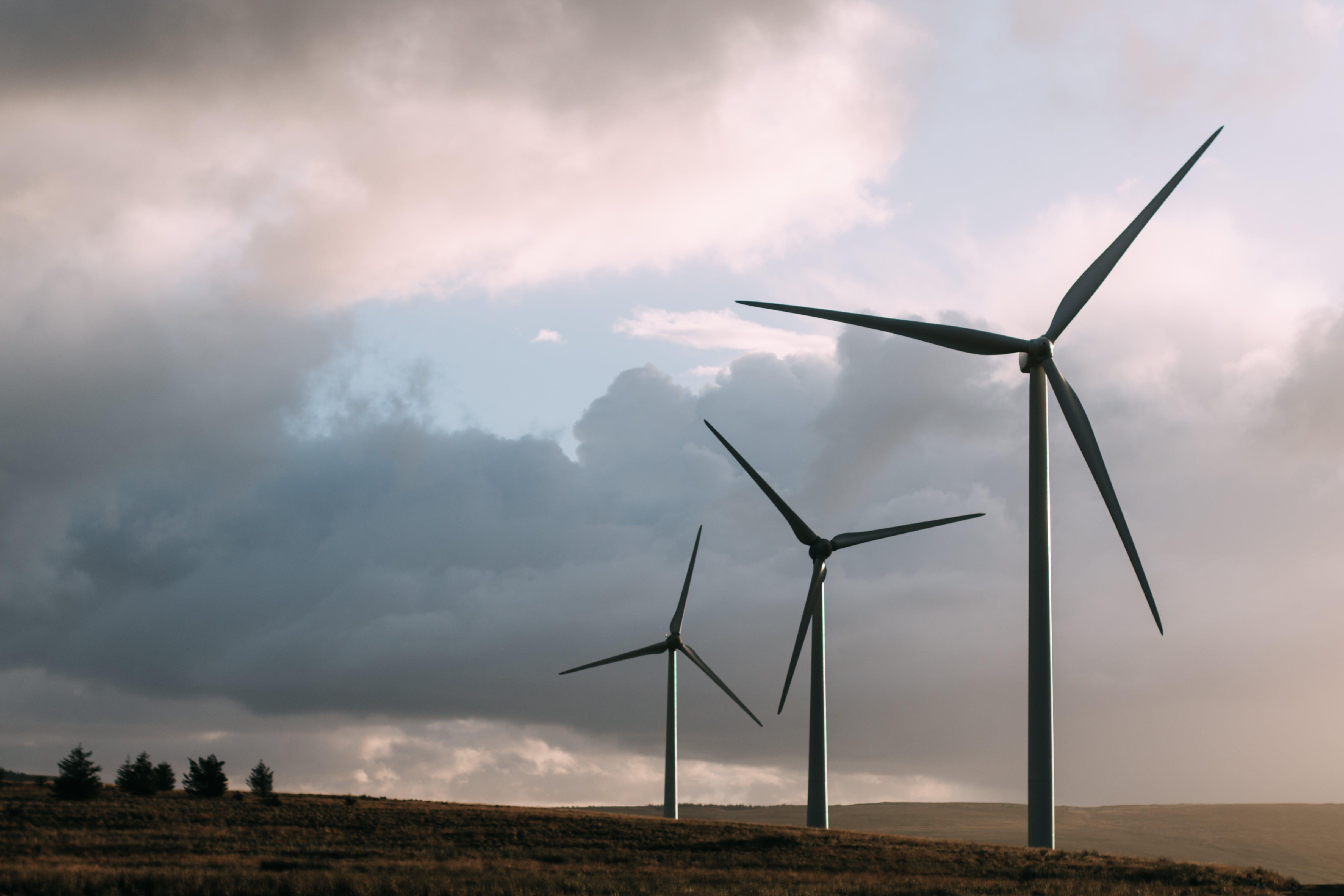 Three Gray Wind Turbine