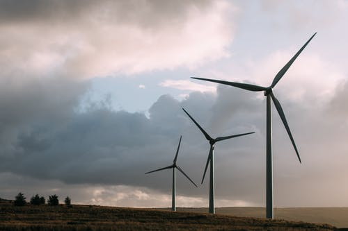 Three Gray Wind Turbine