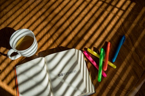 Free stock photo of bible, highlighters, old testament, tea
