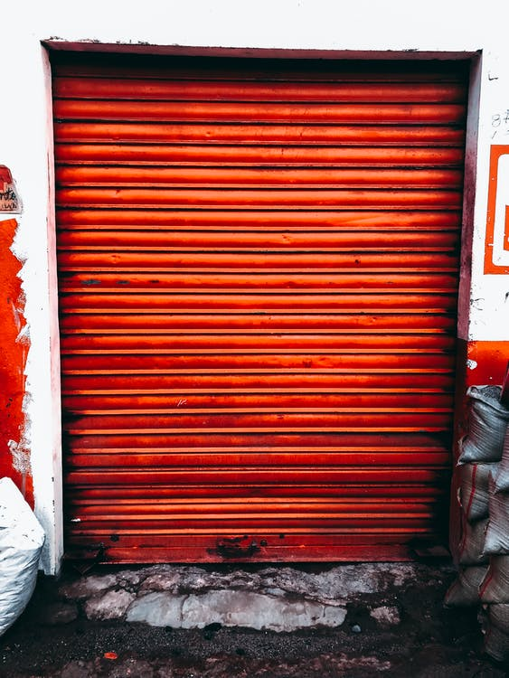Orange Rollup Door Closed