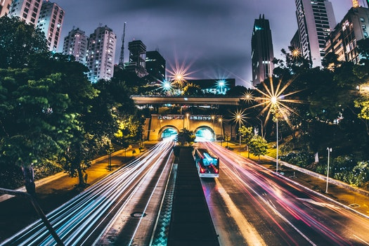Free stock photo of city, lights, buildings, car