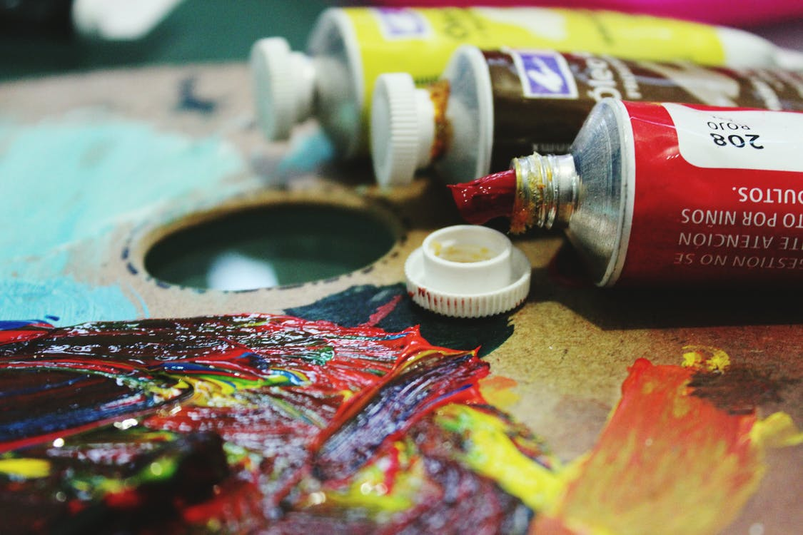 arts and crafts, colors, oil paint