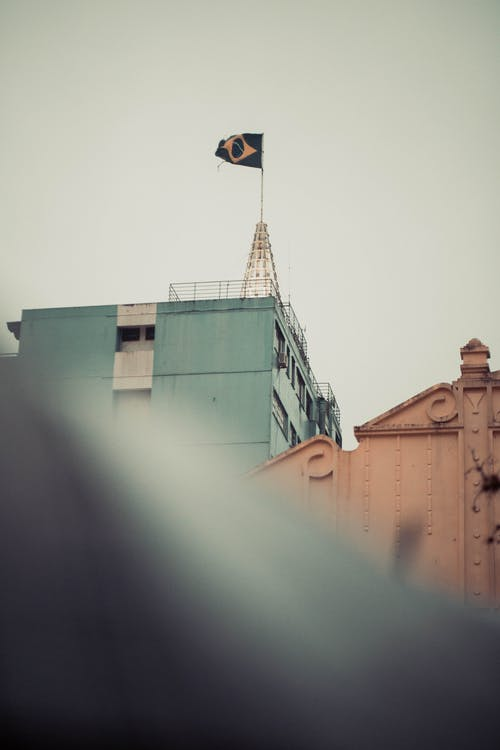 Brazilië, vlag, zwaaien