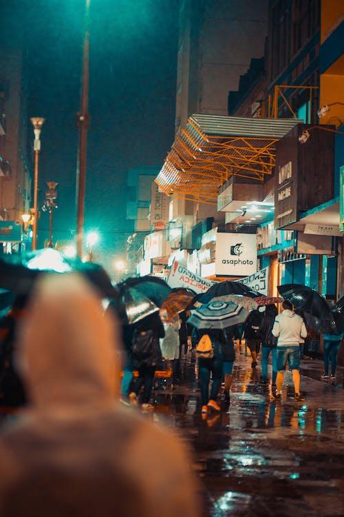 People Holding Umbrellas