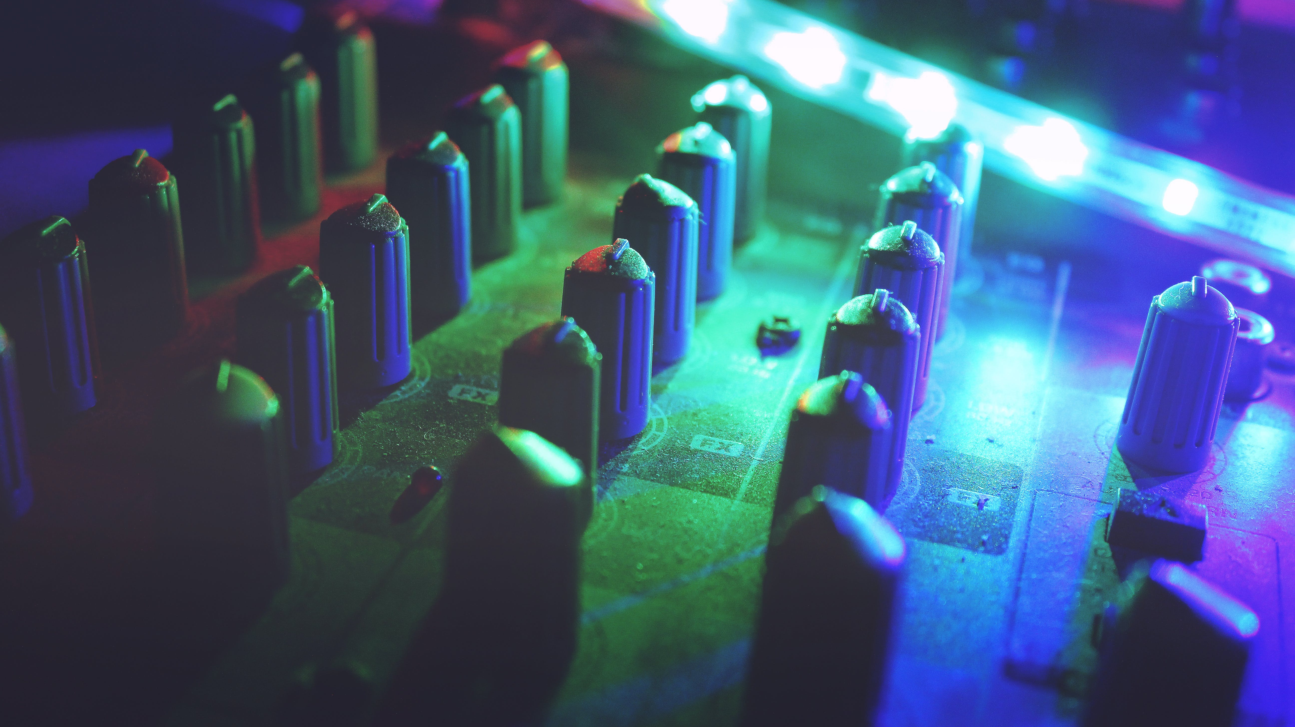 Mixing Console Beside Led Lights