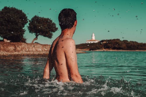 Free stock photo of blue sea, boy, mallorca
