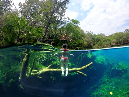 Free stock photo of bikini, cancun, cenote, girl