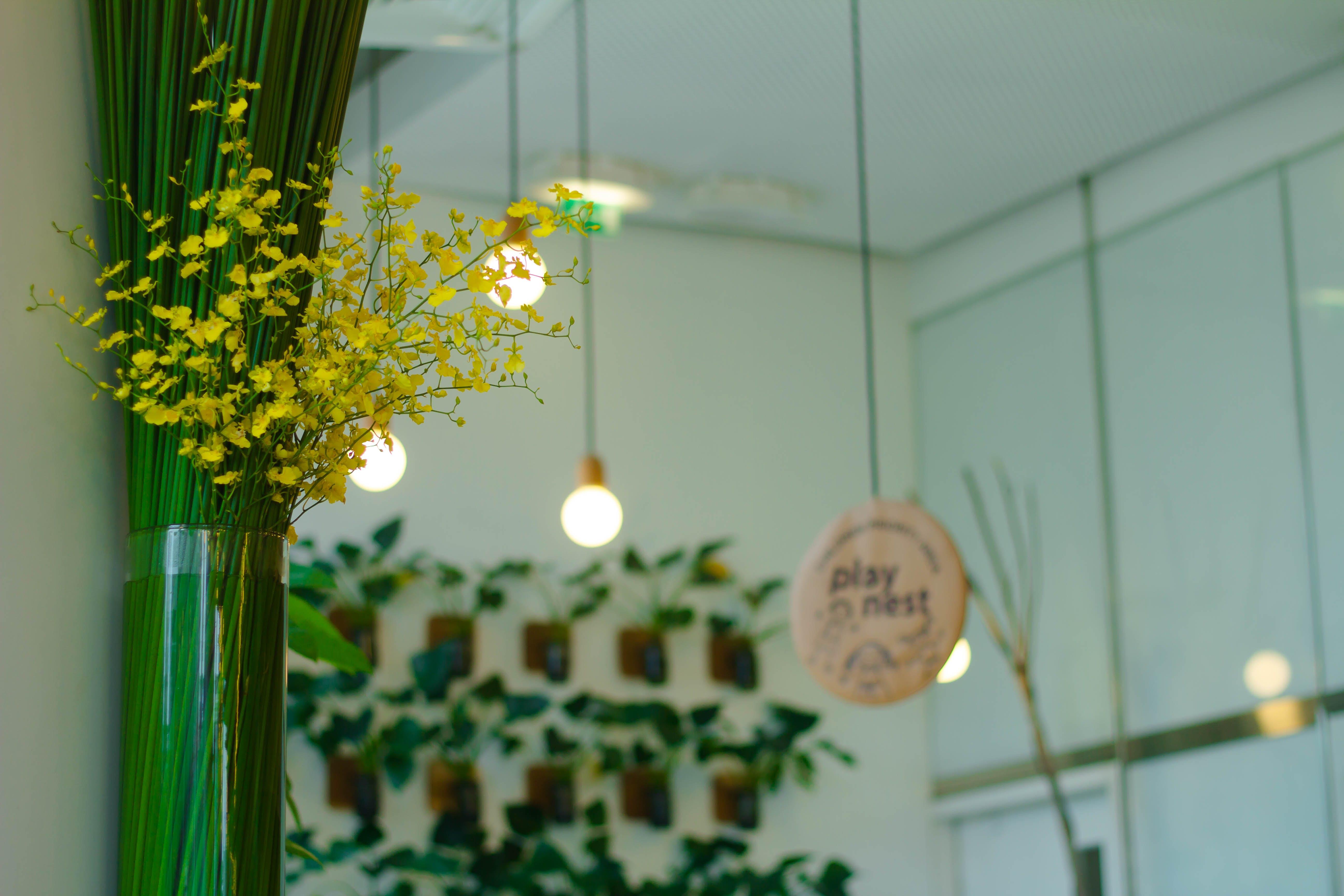 Yellow Flower Wall Decor Inside Room