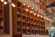 lights, books, office