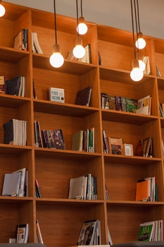Free stock photo of lights, books, wooden, shelves