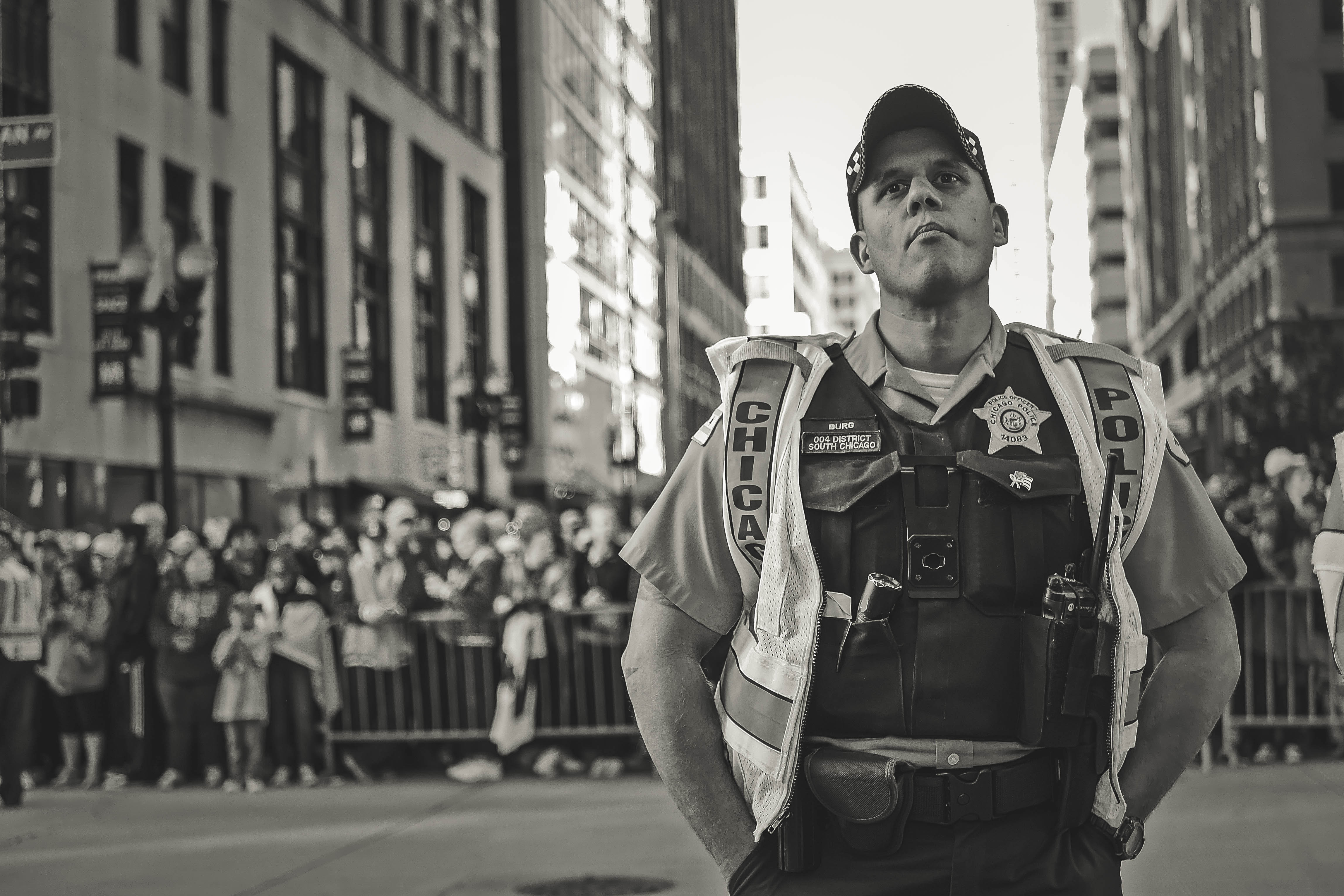 Grayscale Photo of a Police