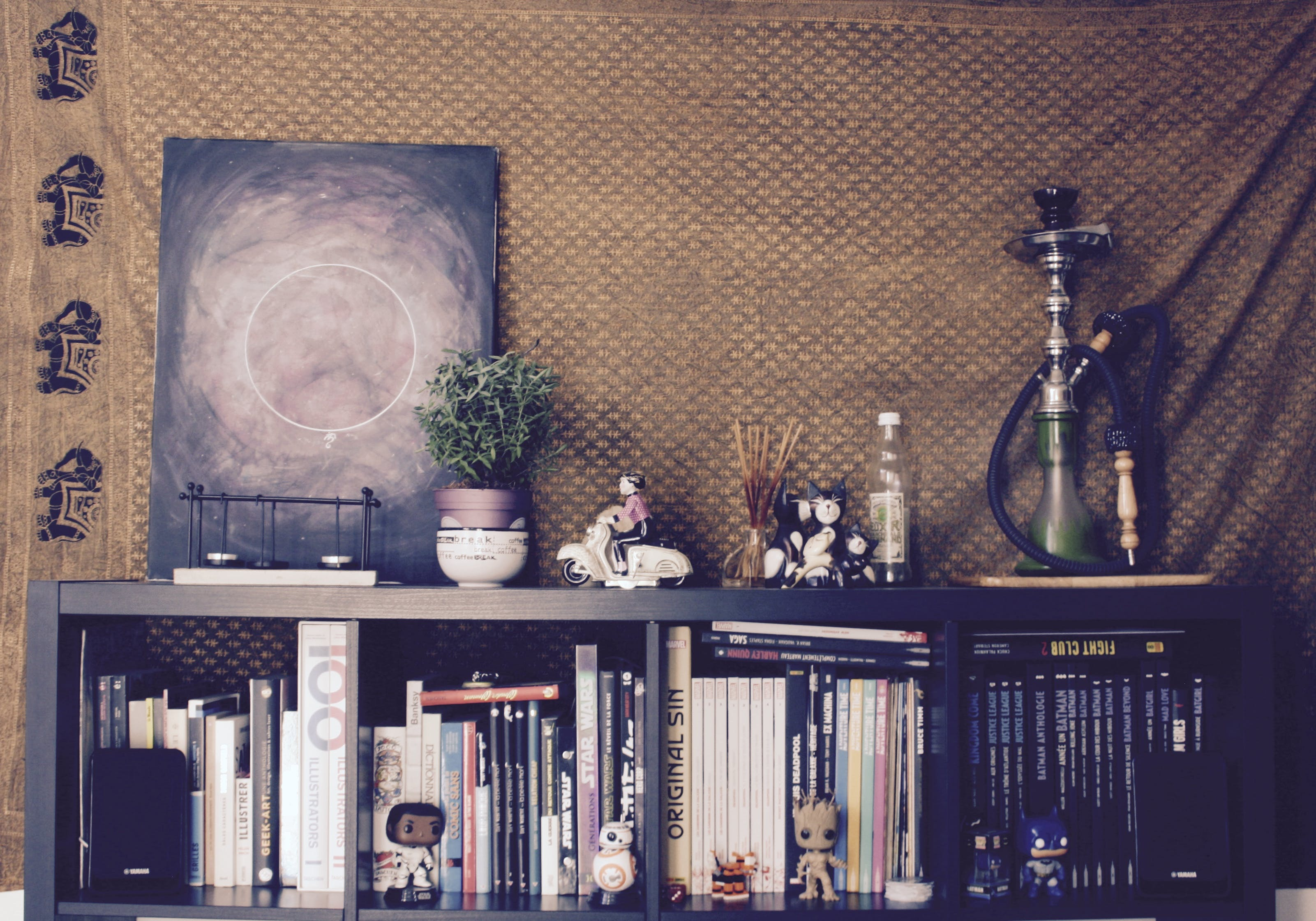 art, bookcase, books