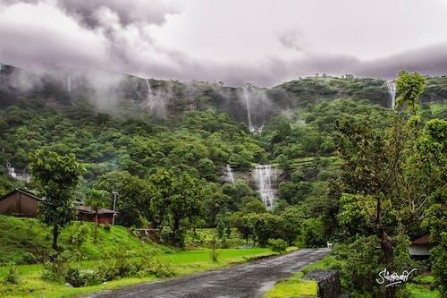 Бесплатное стоковое фото с водопады, зеленый, облака, сцена
