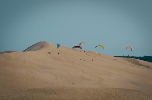 Foto stok gratis bukit pasir, di luar rumah, gurun pasir, paraglider