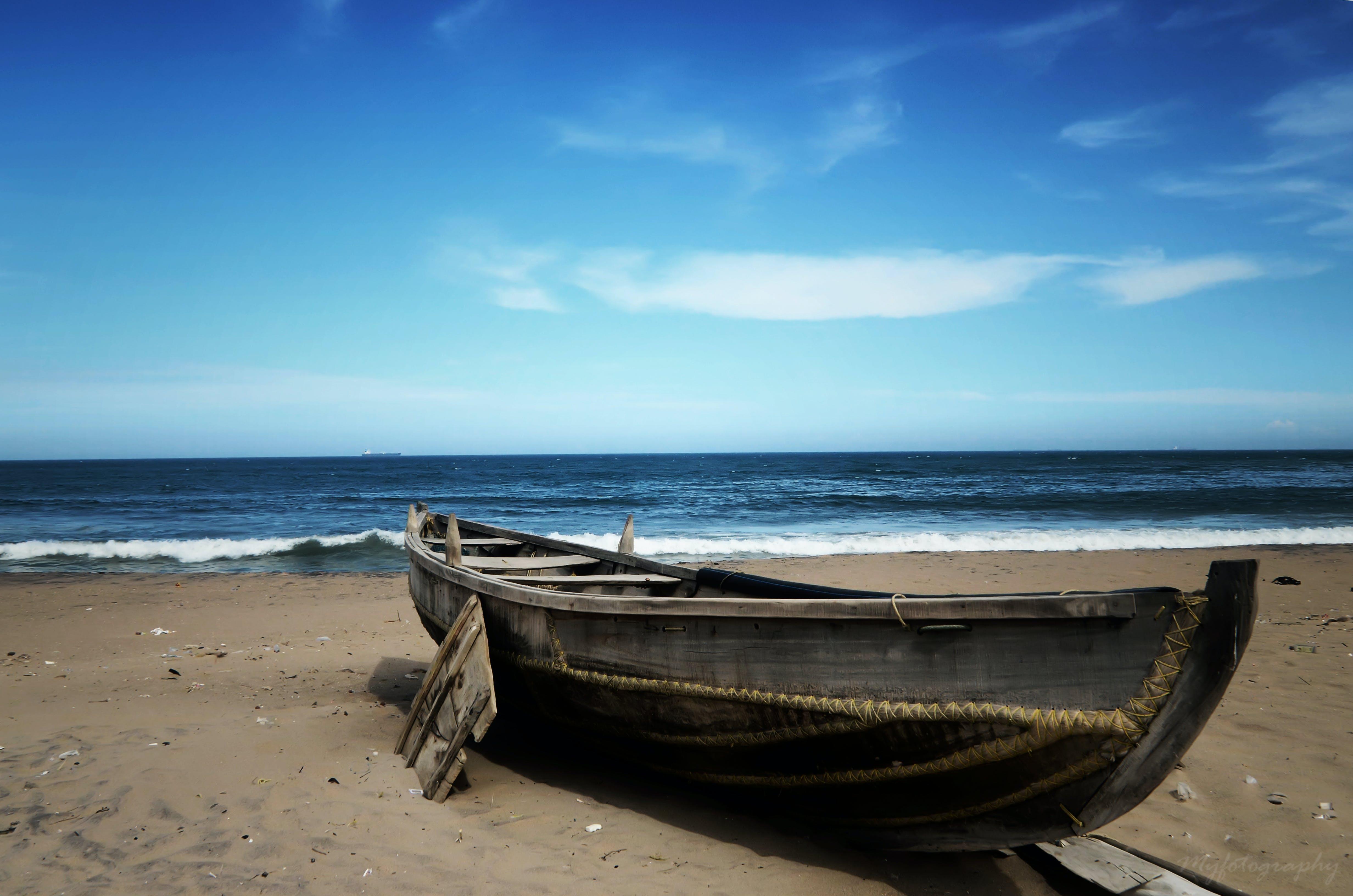 Gray Canoe Neather Sea Shore