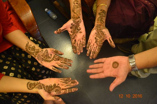 Free stock photo of Mehndi or Henna on hands