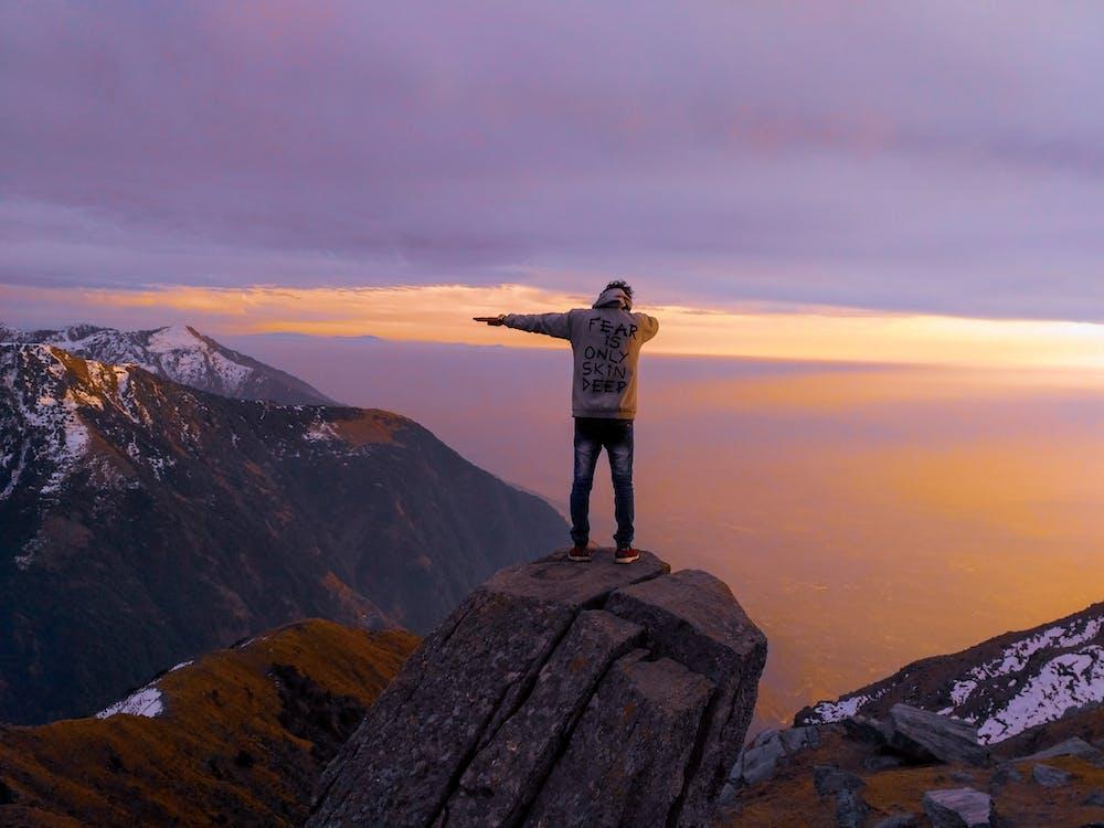 góra, mężczyzna, na dworze