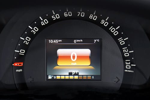 Black Speedometer Displaying 0