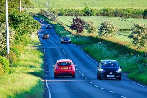 Free stock photo of black car, car, cars, country lane