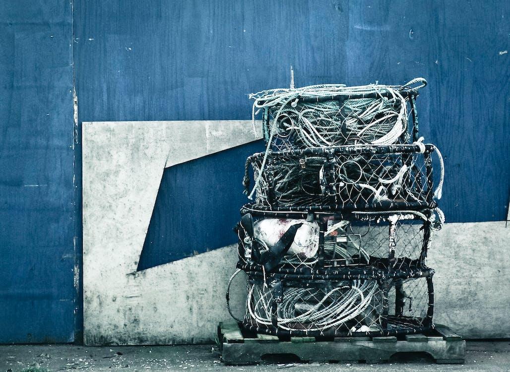liny, niebieski, przechowywanie