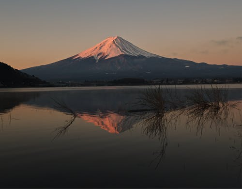Mount Fuji Near Lake during Dusk