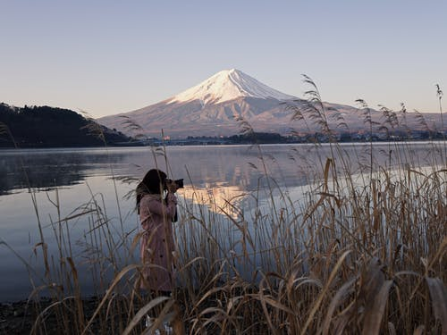 Woman Taking Picture Near Lake With View of Mount Fuji