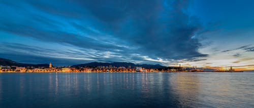 Free stock photo of adriatic sea, bluehour, harbour panorama