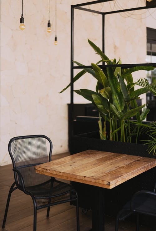 Brown Wooden Table in Front of Green Leafed Plant