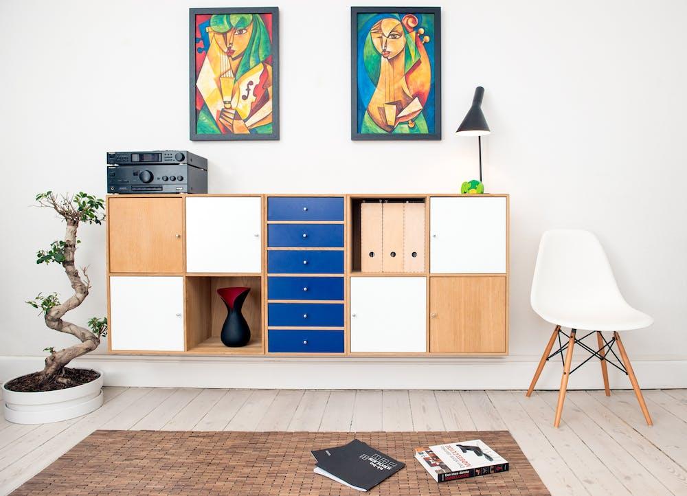 furniture, chair, bookshelf