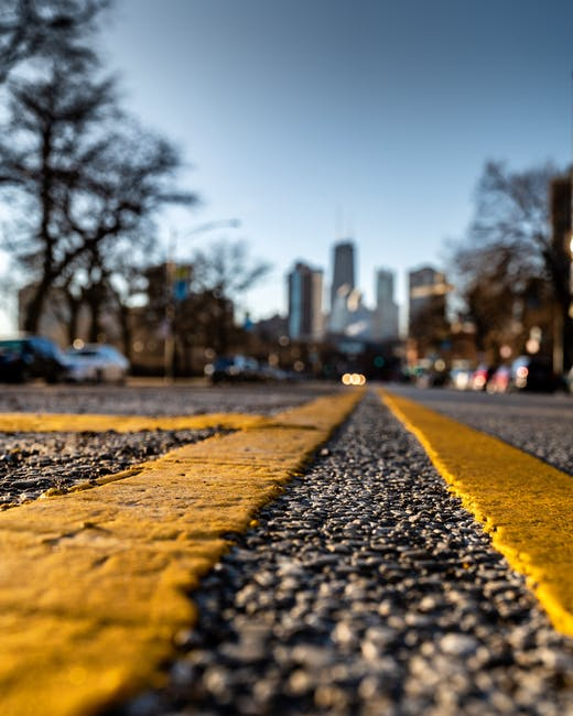 Close up photography of road