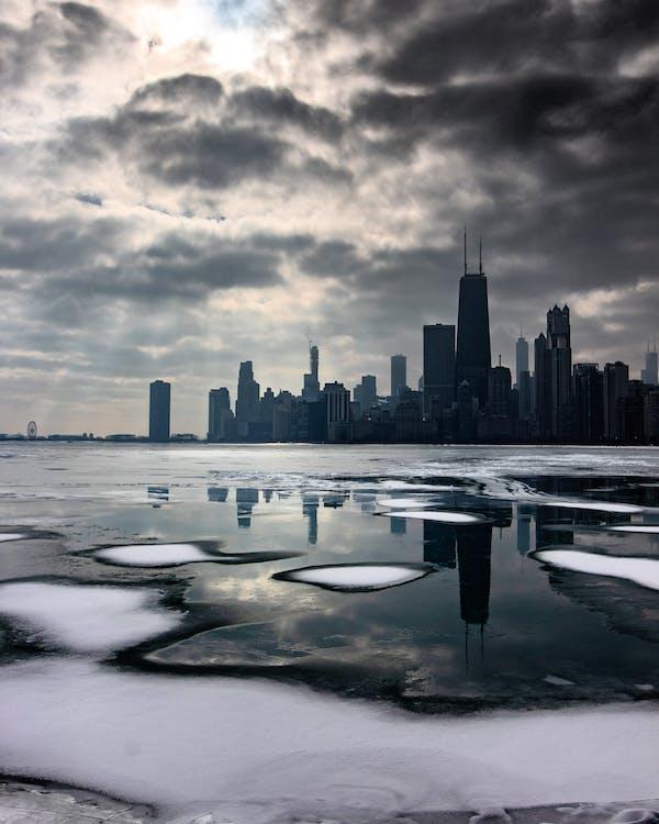 Landscape Photo of City Skyline at Winter