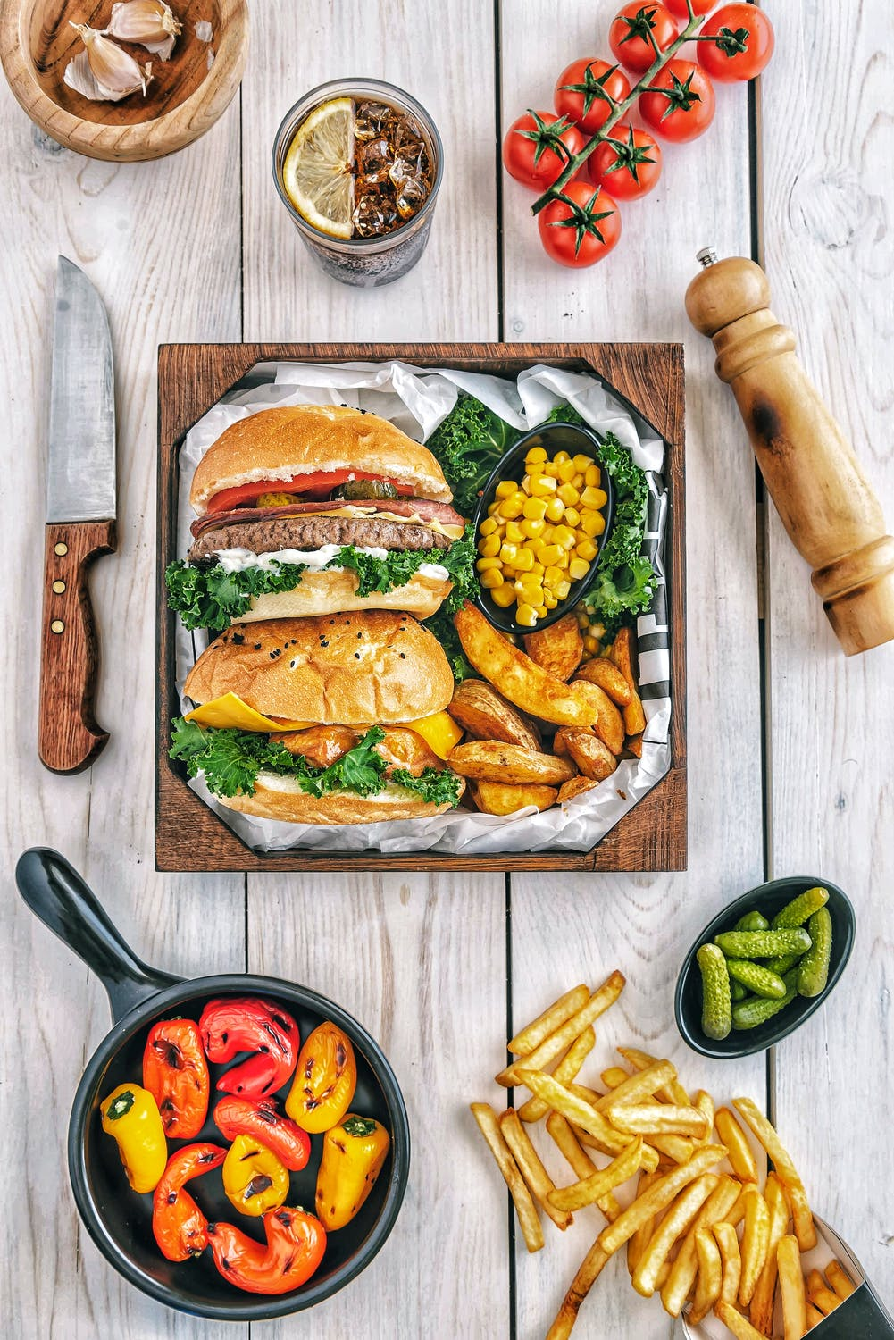 burger and delicious foods