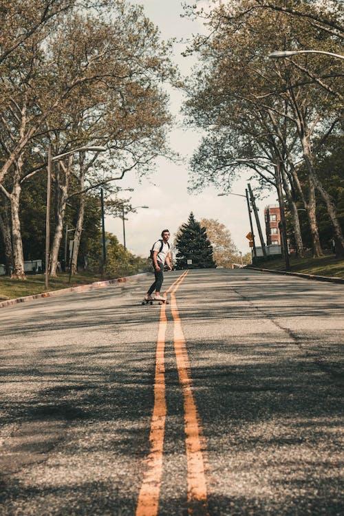 Foto profissional grátis de andar de esqueite, árvores, bem-estar, esqueite