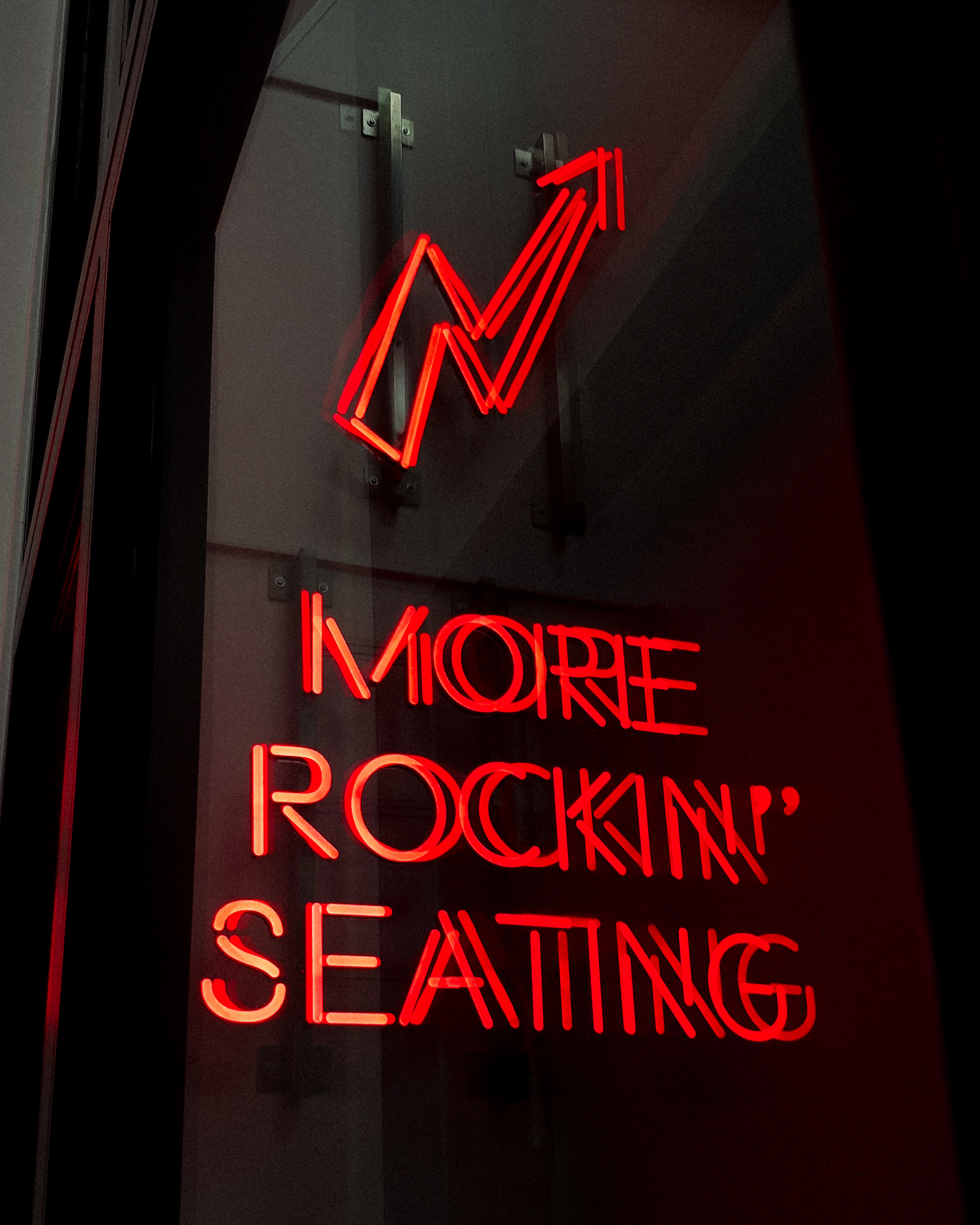 More Rockin' Seating Neon Signage Turned-on