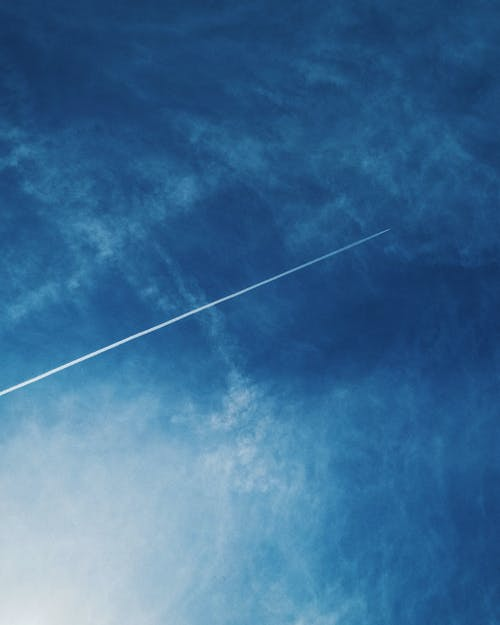 Free stock photo of airplane, blue, blue sky, clouds