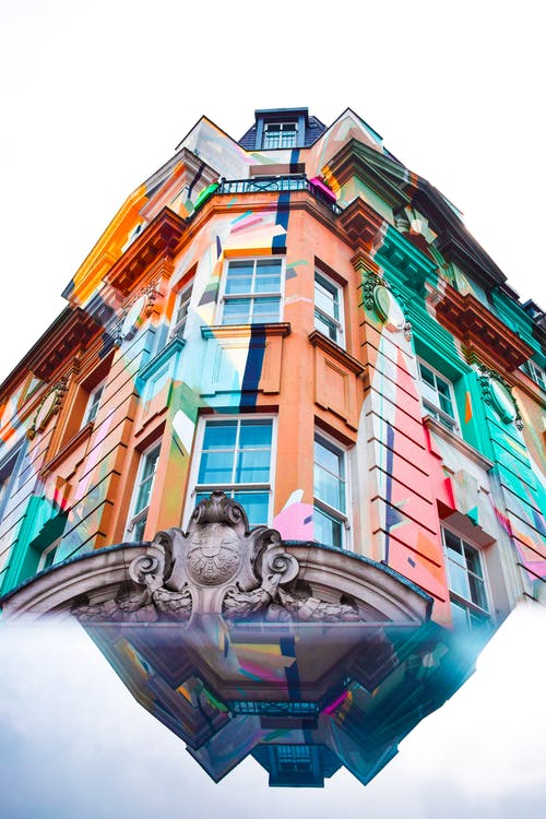 Multicolored Building Worms-eye View Photo