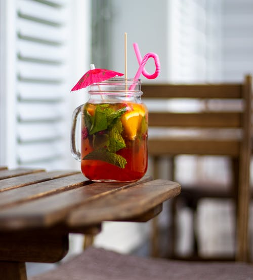 Mason Jar of Fruit Cocktail