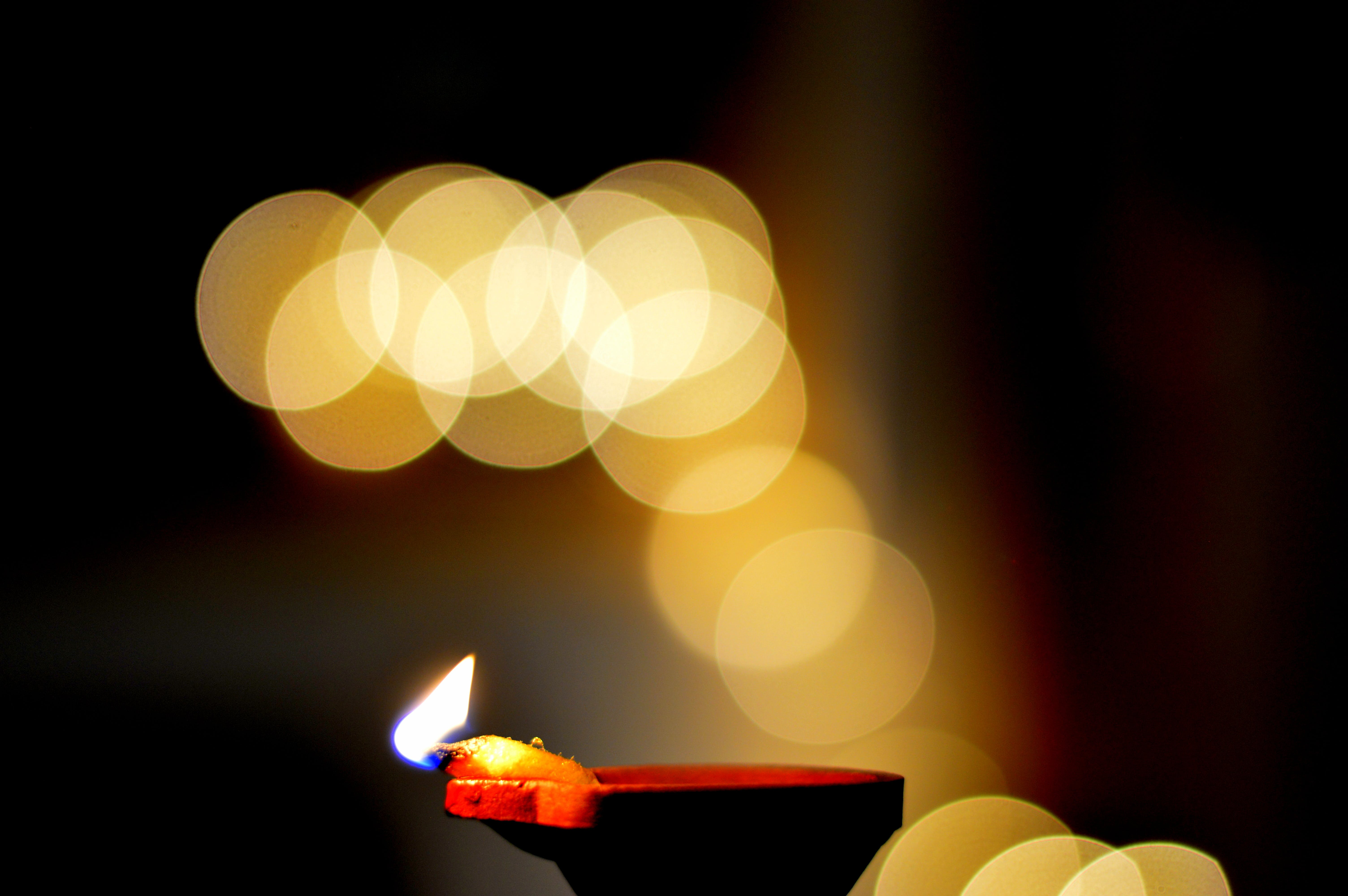 blurred, bokeh, candle