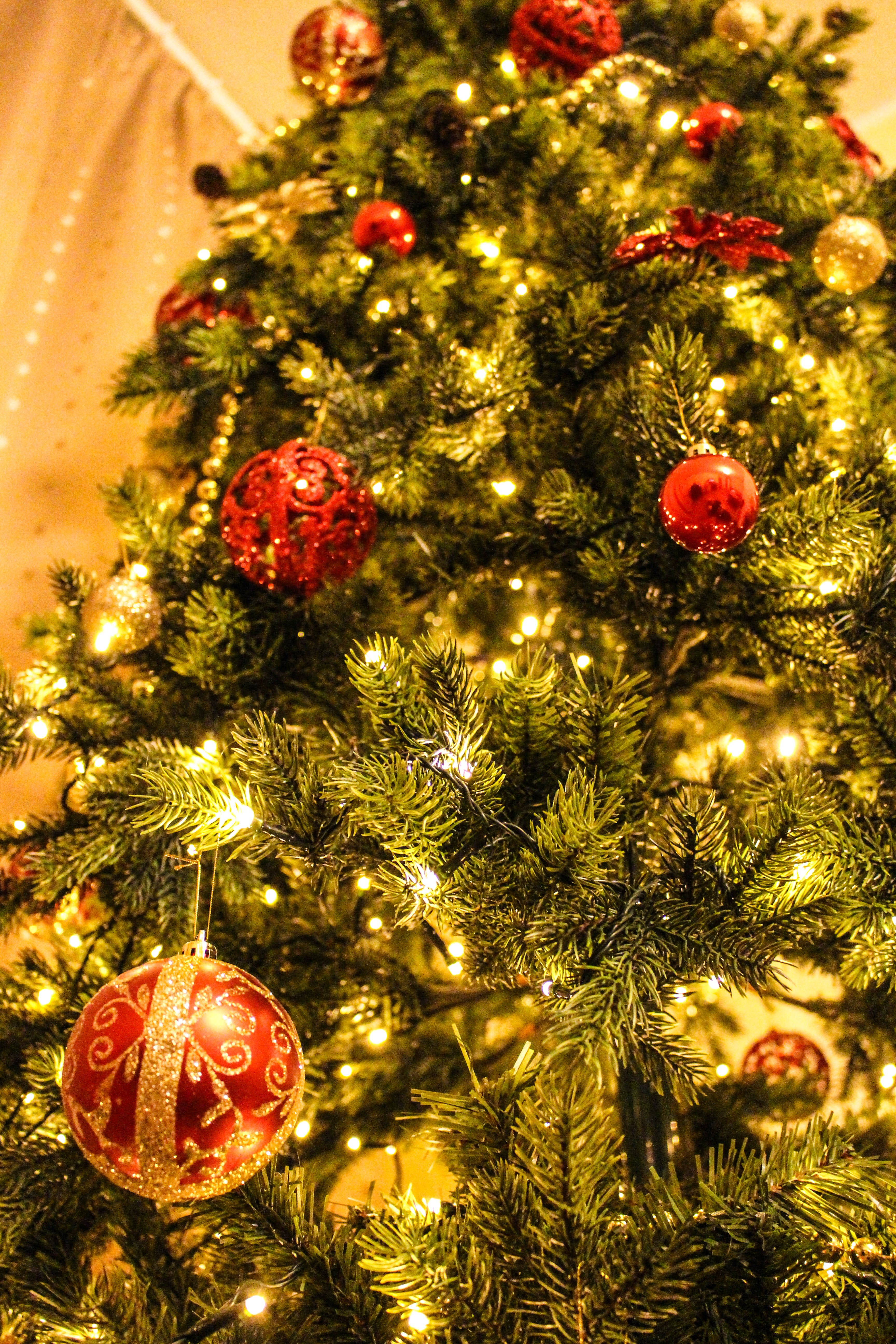 Baubles Hanged on Christmas Tree