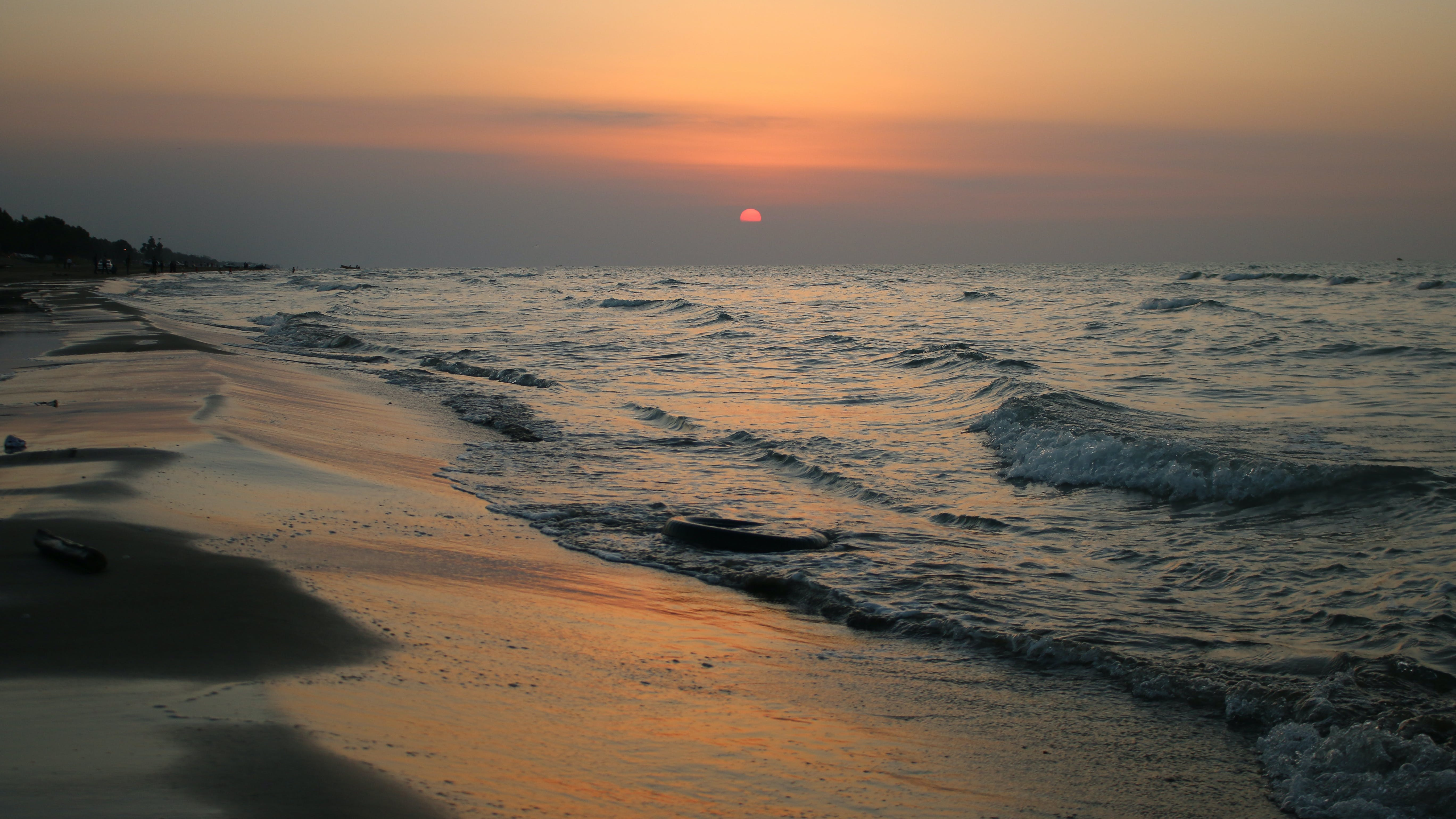 View of Beach at Sunset