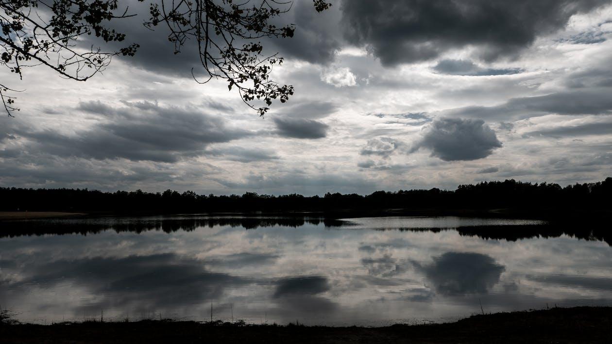 awan, danau, langit