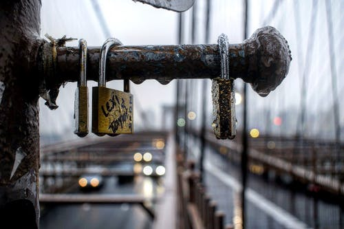 Close-Up Photo of Wet Padlocks